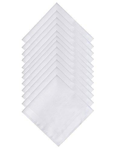 TFS Mens White Pure Cotton Handkerchiefs with Hem, Bulk Set Hankies