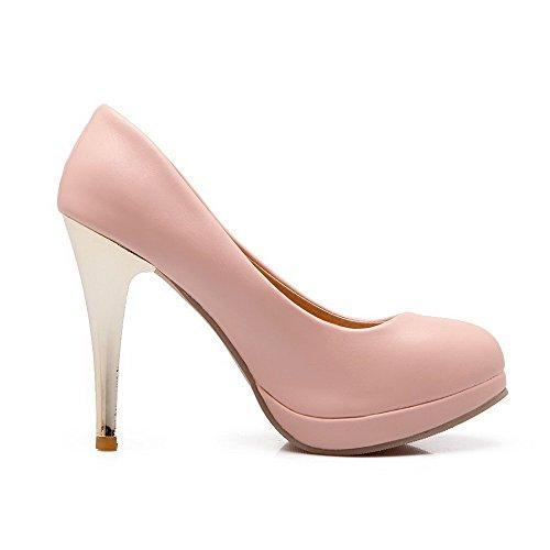 AgooLar Damen Rein PU Stiletto Rund Schließen Zehe Ziehen auf Pumps Schuhe Pink