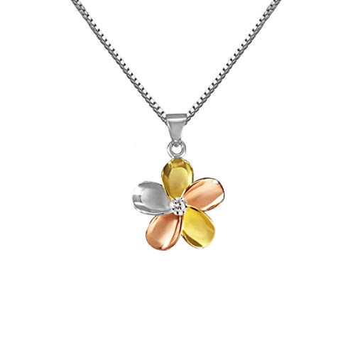 (14k Gold Tri-Color Plated Sterling Silver Plumeria CZ Necklace Pendant with 18