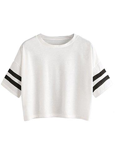 MakeMeChic Women's Short Sleeve Oversized Striped Summer Crop Tee T-Shirt Top White L