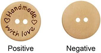 Knöpfe Dekorative Nähen Scrapbooking 2-Löcher 15mm 200 braun Holz Knopf