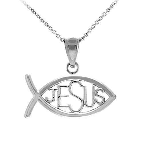 925 Sterling Silver Horizontal Jesus Ichthus Charm Christian Fish Pendant Necklace, 16