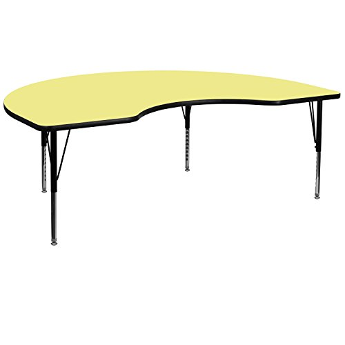 48''W x 72''L Kidney Shaped Activity Table with Yellow Thermal Fused Laminate Top and Height Adjustable Pre-School Legs [XU-A4872-KIDNY-YEL-T-P-GG]