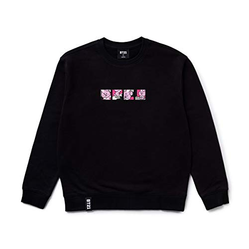 BT21 Official Merchandise by Line Friends - Cooky Character Long Sleeve Tshirt Crew Neck Knit Tee Shirt, X-Small, Black