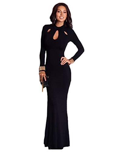 Leezeshaw Women#039s Elegant Slim Long Sleeve Hollow Out Bodycon Maxi Dress Black