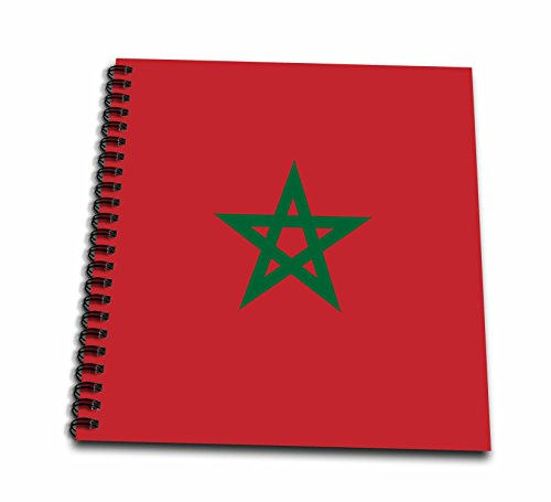 3dRose flag of Morocco - Moroccan Red with Green Pentagram Star Seal Ensign - Africa African World country - Drawing Book, 8 by 8-Inch (db_158383_1)