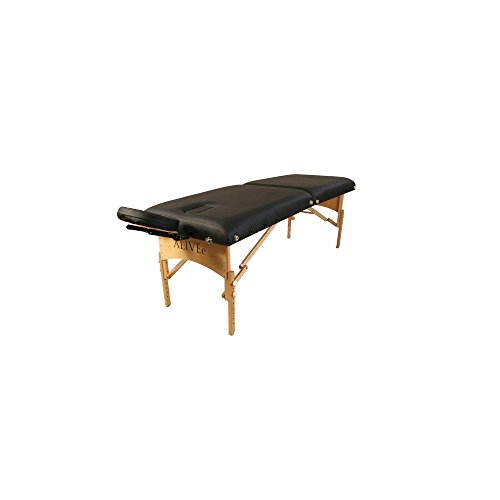 """ALIVEe Pythagoras II Tall Tall Portable Massage Table with Free Massage Table accessories, 3"""" Foam and ALIVEe Black Ultra Soft Leather Light Finish"""