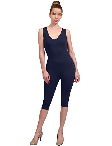 NE PEOPLE Women's Casual Sports Sleeveless Stretch Capri Solid Knee Length (Capri Bodysuit)