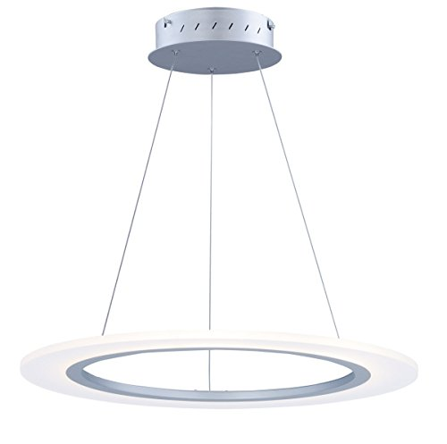 - Pendants 1 Light With Matte Silver Finish Aluminum Acrylic LED Bulb 24 inch 24 Watts