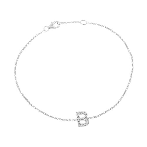 14k White Gold Diamond Studded Letter ''B'' Initial Bracelet, 7.5'' by Isha Luxe-Initials
