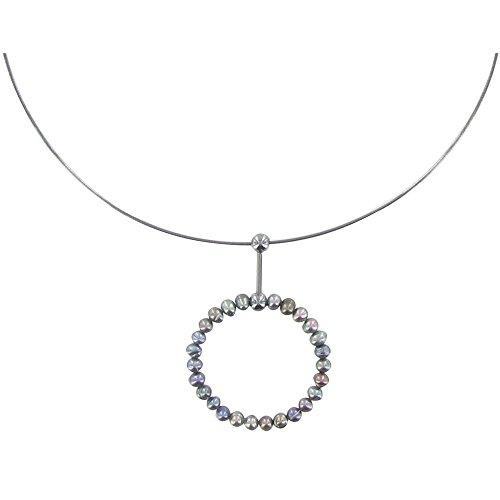 Les Poulettes Bijoux - Collier Argent Anneau de Perles de Culture Gris Foncé4-5 mm