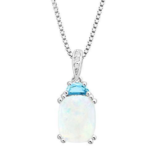 2 1/6 Natural Opal & Blue Topaz Pendant with Diamonds in Sterling Silver, 18