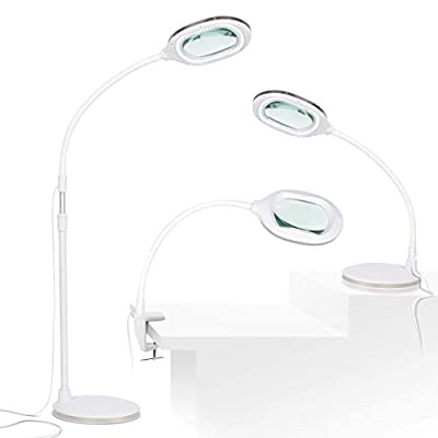 Lightview Pro 3- in 1 LED Magnifying Glass Floor Lamp- Use as a Table, Floor, or Desk Lamp - Real Diopter Glass Lens - Height Adjustable Gooseneck Standing Light