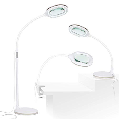 Brightech Lightview Pro 3 in 1 LED Magnifying Glass Floor Lamp- Use as a Table, Floor, or Desk Lamp - Real Diopter Glass Lens - Height Adjustable Gooseneck Standing Light - White