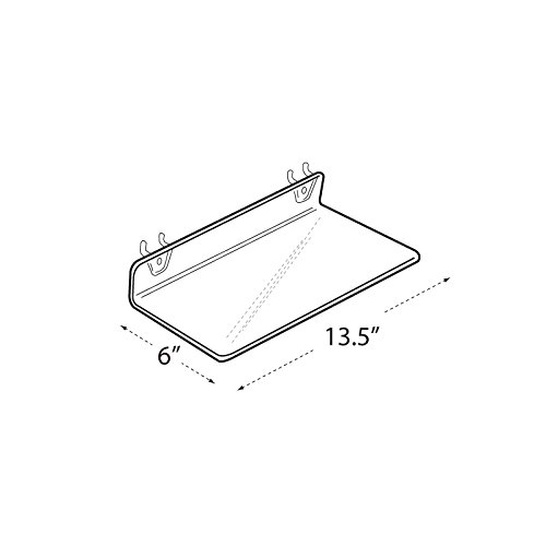 Count of 4 New Retails Clear Acrylic Shelf for Pegboard 13.5''w x 6''d x 2''high