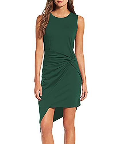 VamJump Womens Sleeveless Knot Asymmetrical Tight Cocktail Dress Green M ()