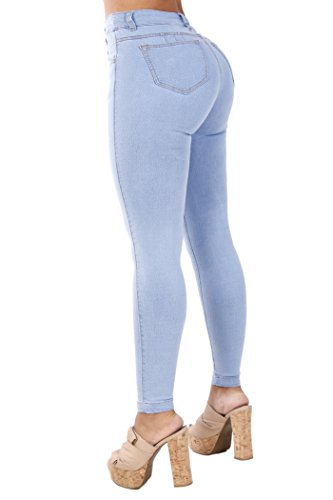 Curvify Classic High Rise Skinny Jeans| Booty Jeans Levanta Cola Cintura Alta (768, Sky Blue, ()