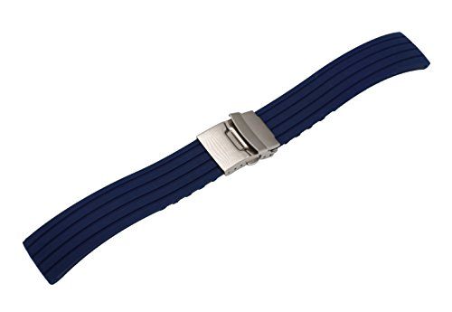 22mm Striped Rubber Watch Strap Smart Watch Bracelet Silicone in Blue with Fold-Over Clasp with Safety
