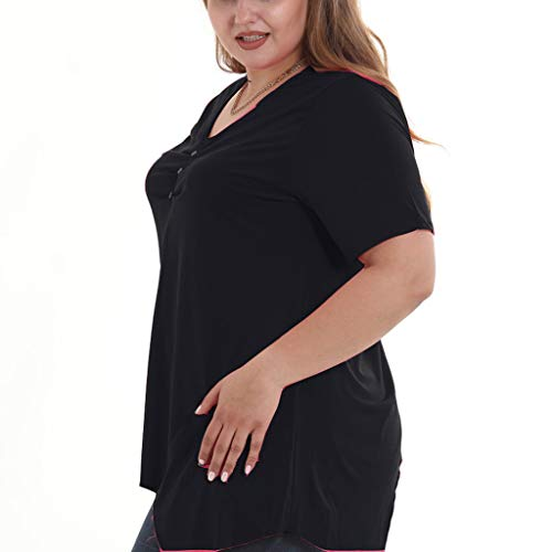 T corta Bobolover Originals Fashion Camicetta V Buttons Shirt Irregular nera Neck Womens T manica Shirt Top qwwI741