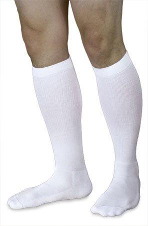 Sigvaris 602CMLM00 18-25mmHg Mens Closed Toe Knee High Compression Sock, Medium & Long, White by Sigvaris