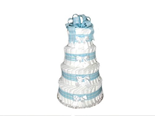 Classic Pastel Baby Shower Diaper Cake (4 Tier, Blue) by Rubber Ducky