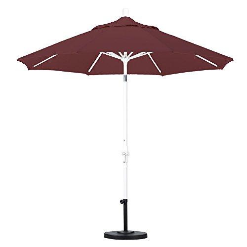 California Umbrella 9' Round Aluminum Market Umbrella, Crank Lift, Collar Tilt, Black Pole, Pacifica Capri