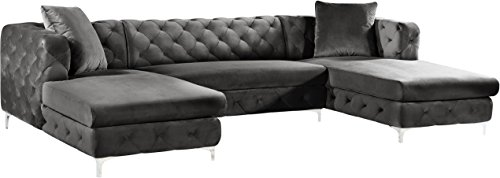 Meridian Furniture 664Grey-Sectional 3 Piece Gail Velvet Sectional, Grey
