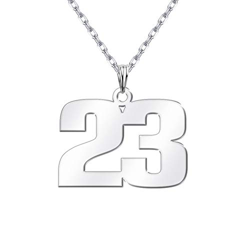 Sports Number Necklace (DayOfShe Birth Year Number Necklace Personalized, Custom Charm Sports Number Necklace Customized Name Jewelry for)