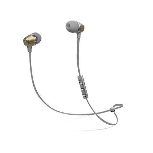 CYLO Platinum Series Metallic Bluetooth Version 4.1 Wireless In-Ear Earbuds with Remote and In-Line Microphone Stylish Design with Aluminum Casing and Hi-Def Audio (Gold/ Grey) (Retractable Platinum Series)