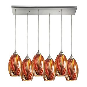 Elk 517-6RC-M 30 by 9-Inch Mulinello 6-Light Pendant with Multicolor Swirled Glass Shade, Satin Nickel Finish - Mulinello 6 Light