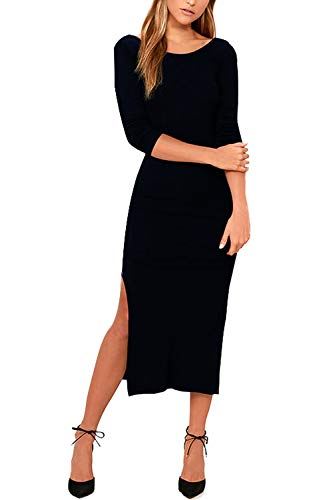 Meenew Womens 3/4 Sleeve Open Back Cocktail Party Bodycon High Slit Midi Dress Black L