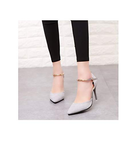 GanQuan2018 Women's Pumps Elegant Pointed Toe Wedding Solid Flock Fashion Buckle Shallow Thin High Heels Shoes