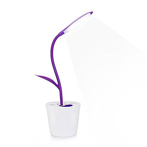 LED Schreibtischleuchte höhenverstellbar 360° Flower Pflanze - 3 Helligkeitsstufen - Tischleuchte Lampe - Sapling Stifthalter (Lila)