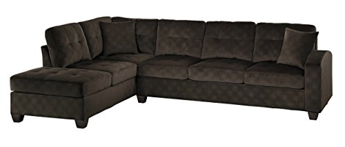 2 Piece Sectional With Chaise - Homelegance 2 Piece Sectional Sofa Polyester With Reversible Chaise and Two Toss Pillows, Chocolate