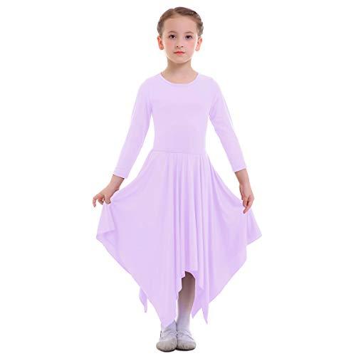 IBTOM CASTLE Girls Celebration of Spirit Long Sleeve Dance Dress Liturgical Worship Costume Full Length Loose Fit Pleated Praise Dance Gown Light Purple 9-10 Years