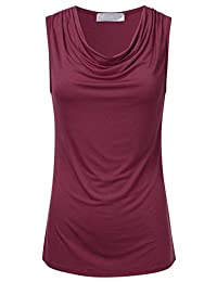 FLORIA Women's Cowl-Neck Ruched Draped Sleeveless Stretchy Blouse Tank Top (S-3X)