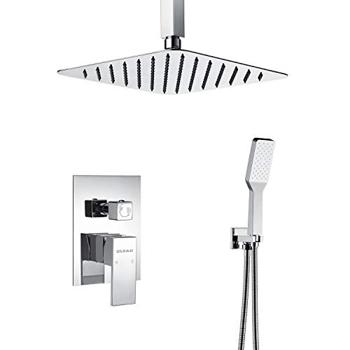 OLEAH Bathroom Mixer Shower Set Chrome Finish Ceiling Mount Shower System With Valve Including Rainfall Shower Head & Handheld Massage Shower Head Possess Self-cleaning Technology