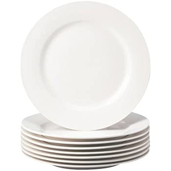 Thompson Pottery 8 Piece Basic Dinner Plates, White