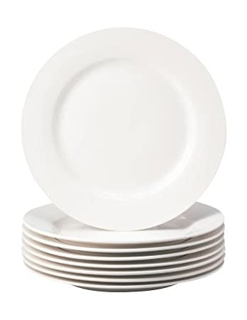 Superior Thompson Pottery 8 Piece Basic Dinner Plates, White