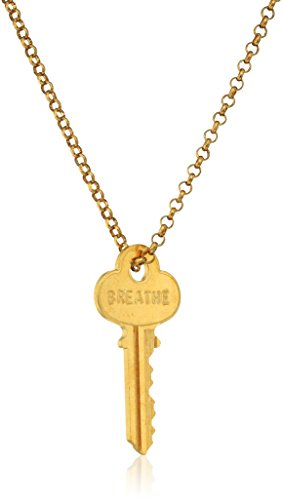 The Giving Keys Classic Necklace Antique Gold BREATHE (Hope Key)