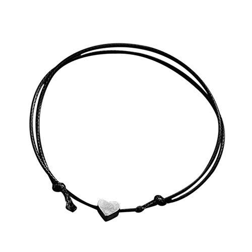 Women Romantic Fashion Classic Luxury Cord Sterling Silver Bangle Bracelet (Black)