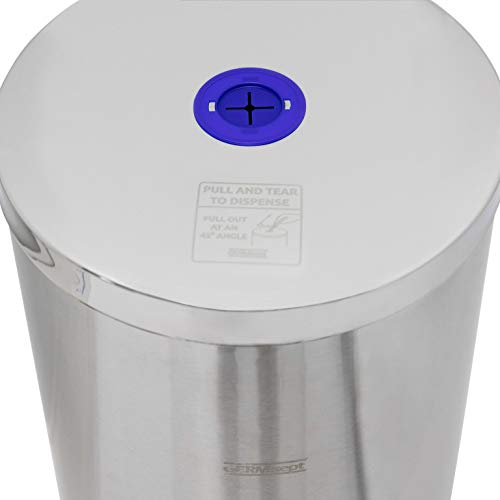 Germisept Stainless Steel Wipes Dispenser with High Capacity Built-in Trash Can and Back Door Access, with Sign Board by GERMISEPT (Image #2)