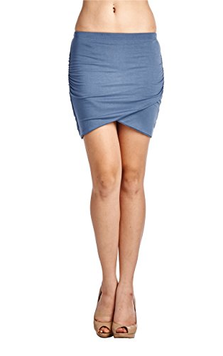 LaClef Women's Stretchy Mini Short Skirt with Front Slit