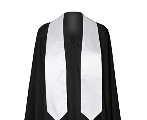 GraduationService Unisex Plain Graduation Stole For Adult,White,One -