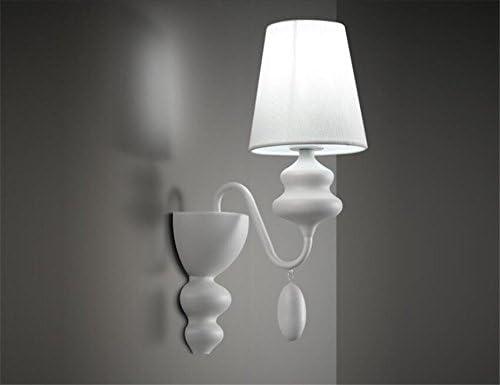 Apliques de Pared Lámparas de pared LED Apliques de Pared Apliques de Pared Sconce Dormitorio Escalera de cabecera Pantallas de tela Escalera de hierro forjado Blanco: Amazon.es: Hogar