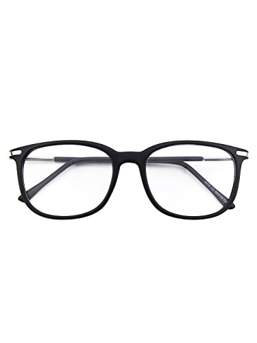 - Happy Store CN79 High Fashion Metal Temple Horn Rimmed Clear Lens Eye Glasses,Matte Black