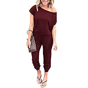 PRETTYGARDEN Women's Loose Solid Off Shoulder Elastic Waist Stretchy Long Romper Jumpsuit with Pockets