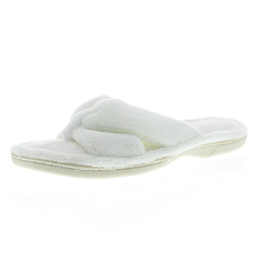 Gold Toe Womens Memory Foam Open Toe Scuff Spa Bath House Slippers, Plush Bow Slip On Summer Flip Flops Ivory
