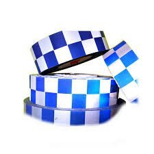 Sew on High Visibility Hi Vis Checkered Reflective tape (2'' x 5 yds, Blue/Silver Checks) by Just In Trend