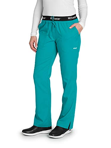 Grey's Anatomy Active 4275 Women's 3 Pocket Logo Waist Scrub Pant Peacock Blue MP (Blue Peacock)